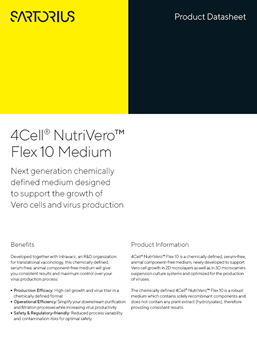 4Cell® NutriVero™ Flex 10 Medium: Next generation chemically defined medium designed to support the growth of Vero cells and virus production - Sartorius Croatia