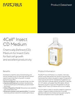 4Cell® Insect CD Medium: Chemically Defined (CD) Medium for Insect Cells for fast cell growth and excellent productivity - Sartorius Croatia
