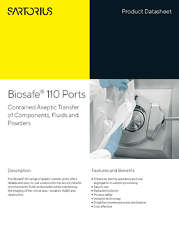 Biosafe® 110: Ports Contained Aseptic Transfer of Components, Fluids and Powders - Sartorius Croatia